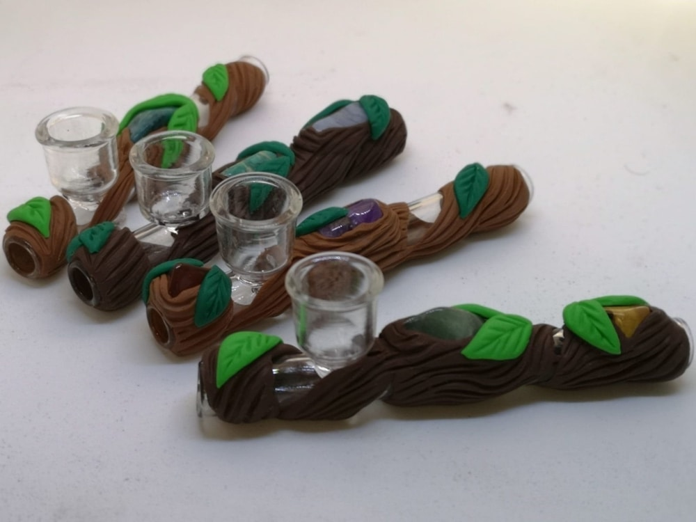 Glass smoking pipes decorated with clay tree details and crystals - product image